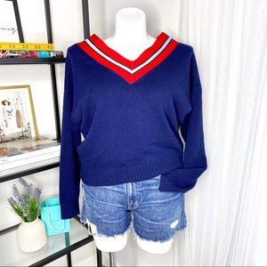 Sandro Navy V-Neck Striped Wool Blend Sweater 3